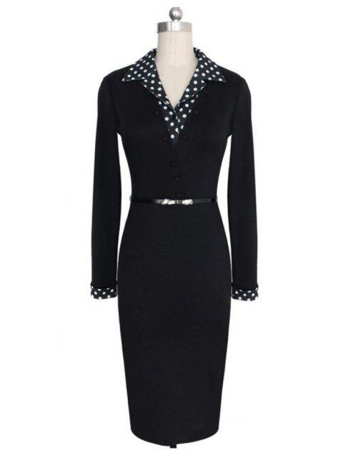 Female Dot Stitching Slim Elastic Long-sleeved V-neck Dress - BLACK XL