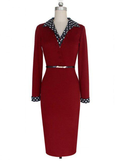 Female Dot Stitching Slim Elastic Long-sleeved V-neck Dress - RED WINE S