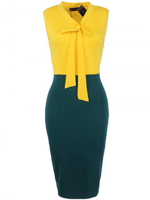 European American Fashion Sleeve Stitching Ribbon Bow Pencil Skirt Dress - YELLOW S