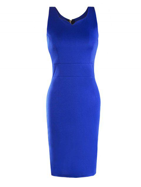 Female Sleeveless Zipper Slim Dress - BLUE S