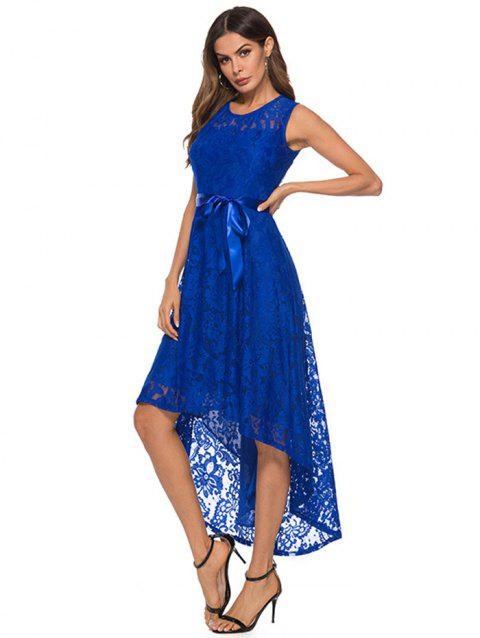Women Fashionable Irregular Lace Sexy Dress - BLUE 3XL