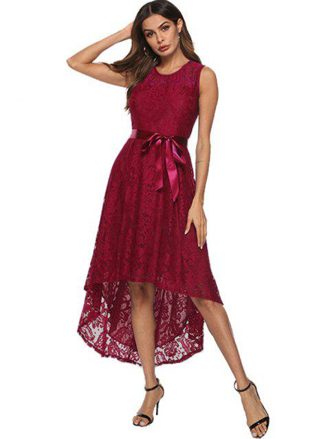 Women Fashionable Irregular Lace Sexy Dress - RED WINE 3XL