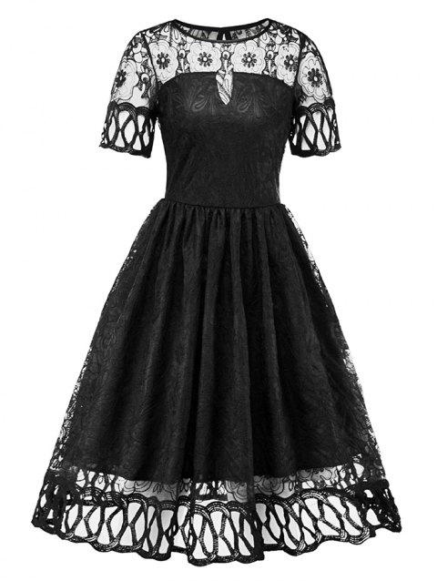 Women's Dress Short-sleeved Pleated Hollow Sexy Lace - BLACK 2XL