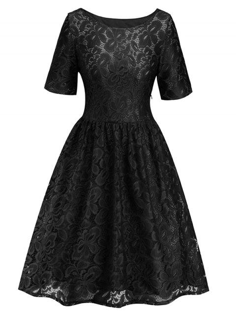 Women's Dress Fashion Round Neck Lace - BLACK S