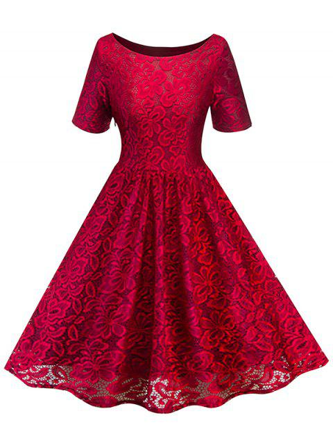 Women's Dress Fashion Round Neck Lace - RED WINE L