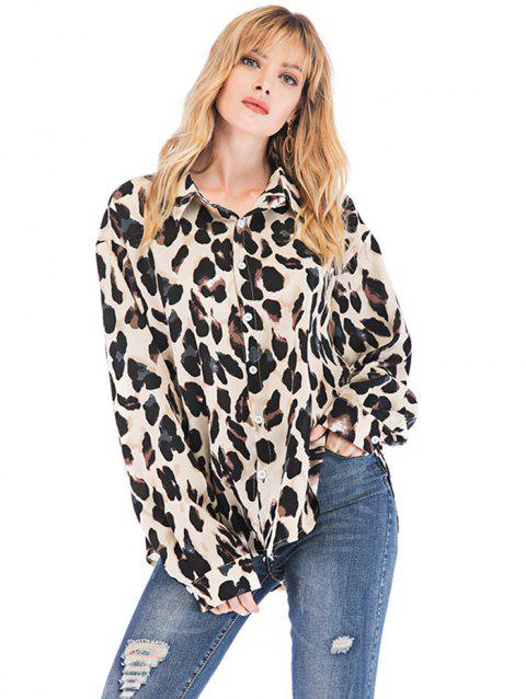 Women's Blouse Leopard Fashion Wild Long Sleeve - WHITE S