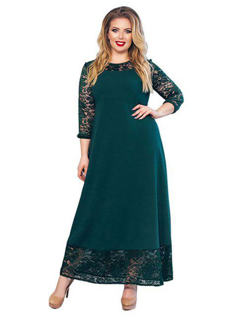 Women Fashionable Matching Solid Lace Sexy Dress - GREEN XL