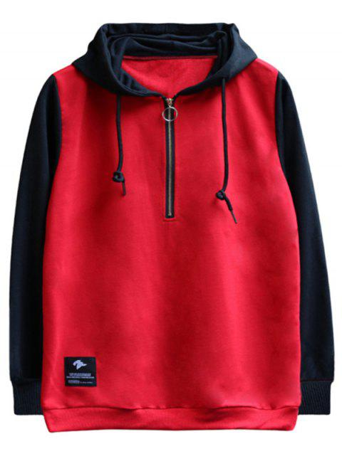 chaolongjushang GH - 8823 Spring Hooded Colorblock Hoodies - RED 2XL