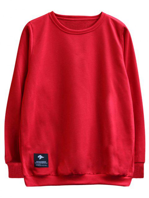 chaolongjushang GH - 8819 Spring Round Neck Solid Color Sweatshirts - RED L
