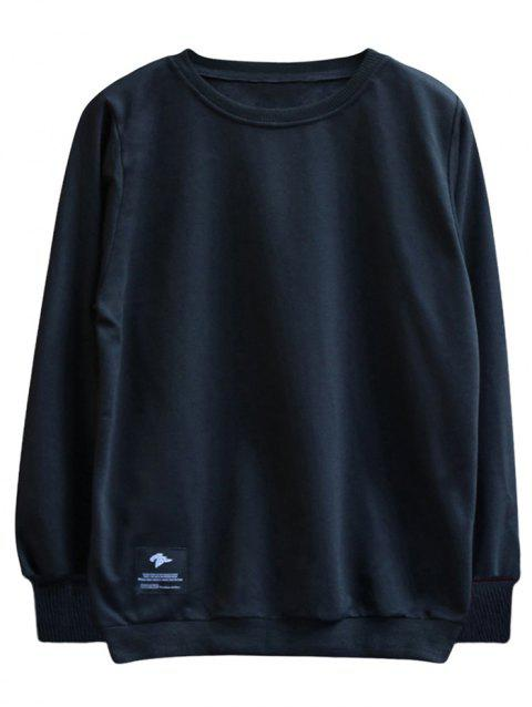 chaolongjushang GH - 8819 Spring Round Neck Solid Color Sweatshirts - BLACK XL