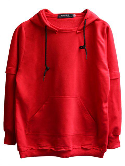 chaolongjushang GH - 8819 Spring Hooded Solid Color Hoodies - VALENTINE RED L