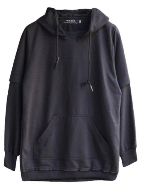 chaolongjushang GH - 8819 Spring Hooded Solid Color Hoodies - BLACK L