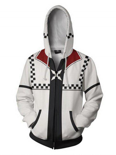 Men's Hoodie Casual Hooded Digital Print - WHITE L