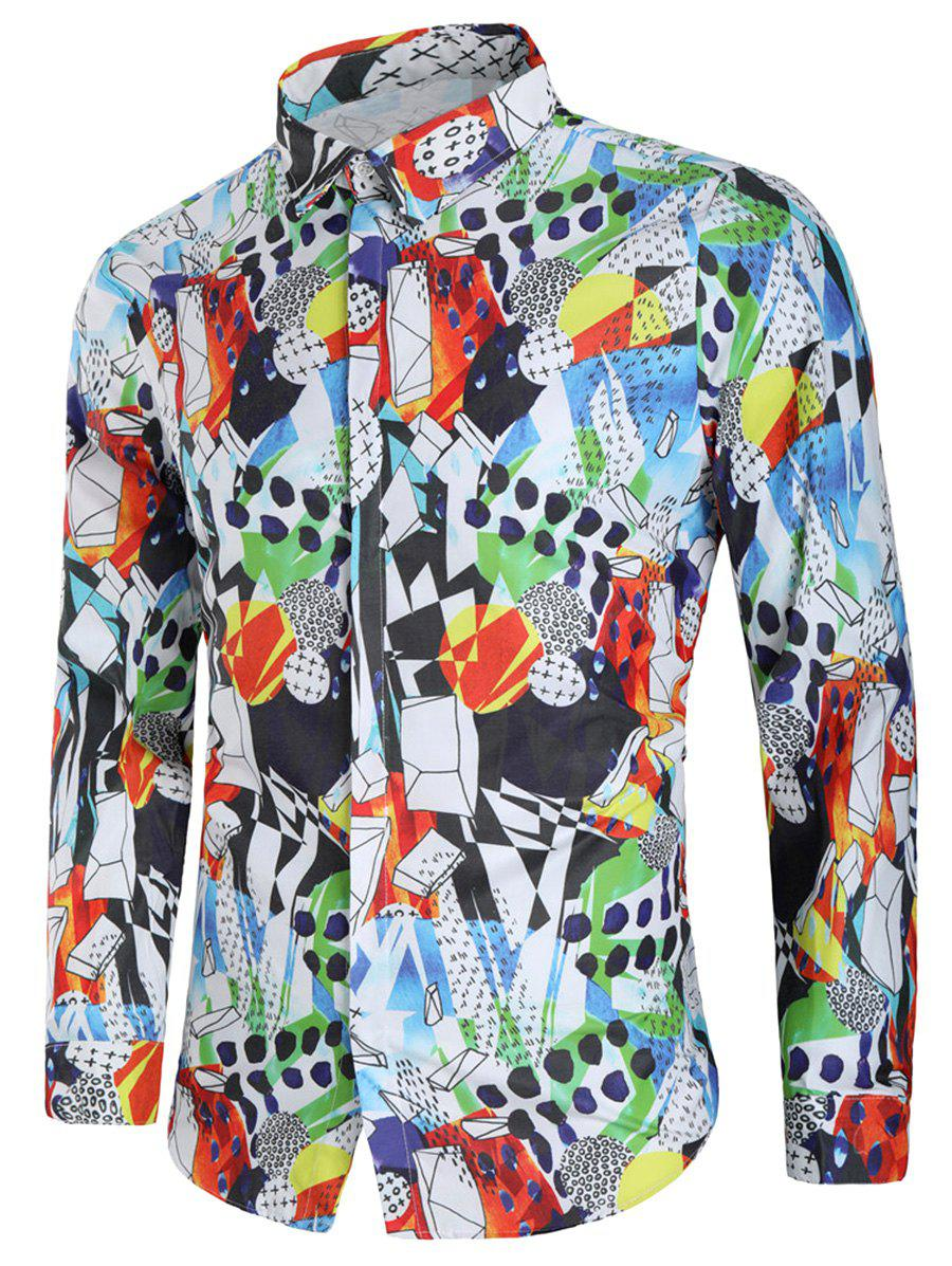 Covered Button Long Sleeves Graphic Shirt - multicolor L