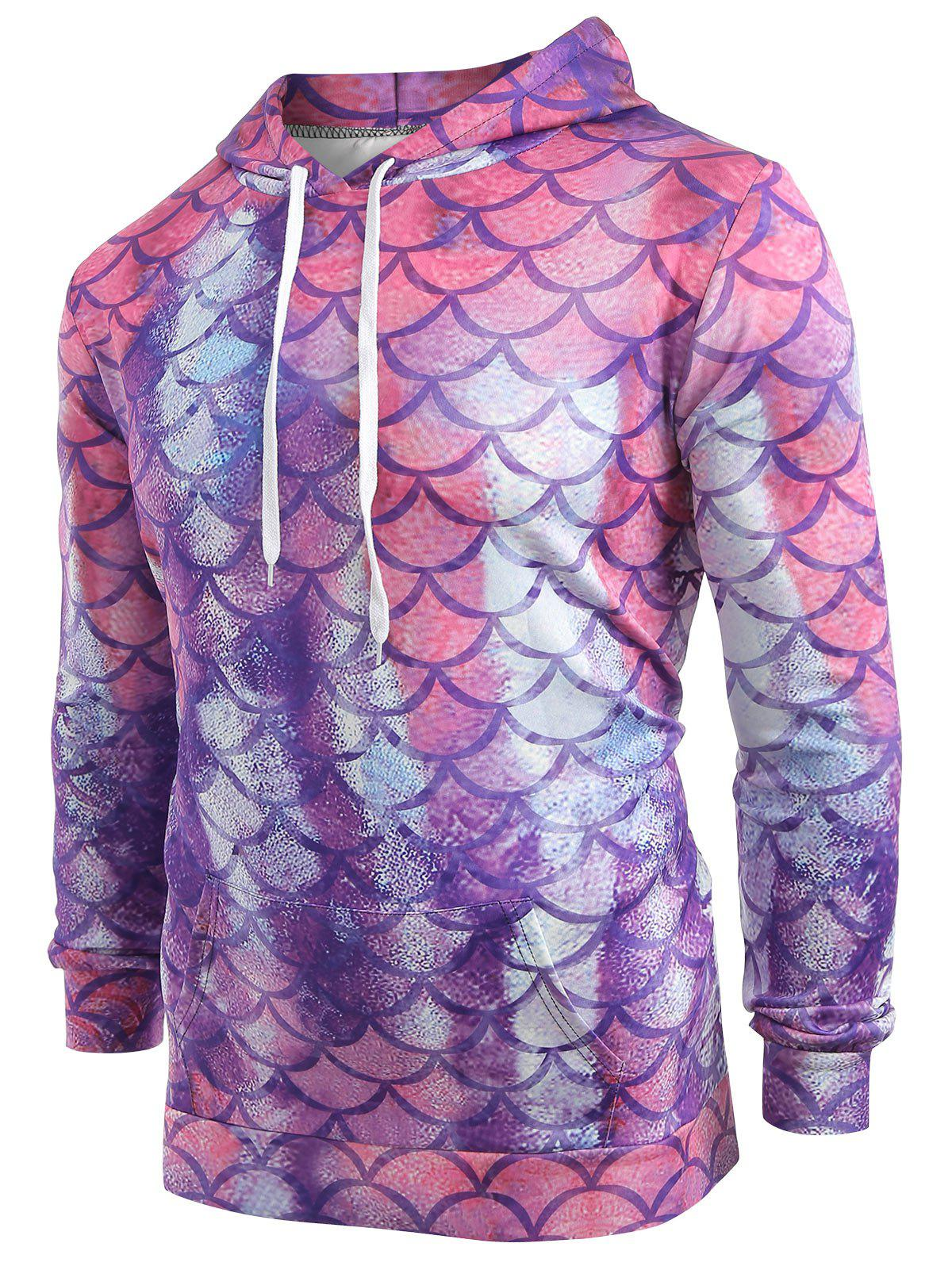 Fish Scale Print Pouch Pocket Hoodie фото