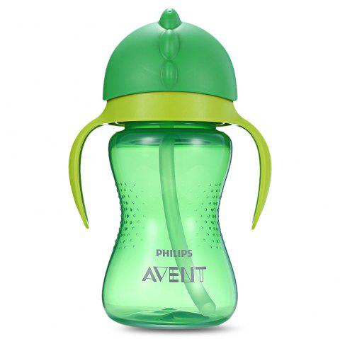 Baby Handle Drinking Straw Bottle - MACAW BLUE GREEN