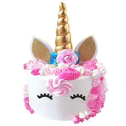 Handmade Gold Unicorn Cake Topper Kit - multicolor