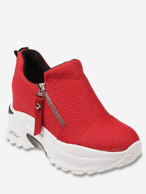 Asymmetrical Zip Platform Shoes - RED EU 39