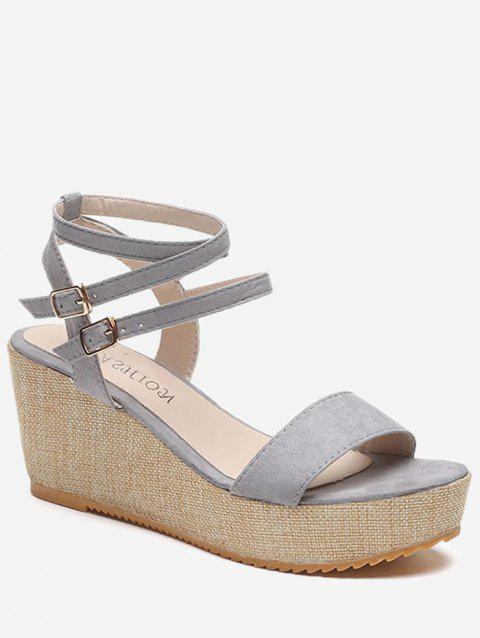 Platform Wedge Heel Ankle Wrap Sandals - GRAY EU 38