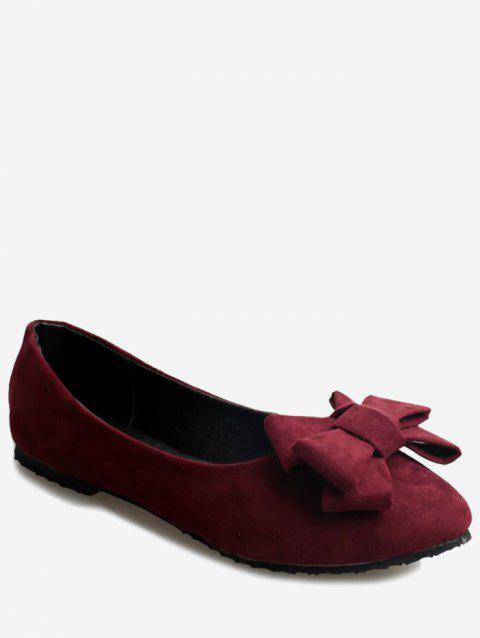 Pointed Toe Bowknot Slip On Flats - RED WINE EU 37
