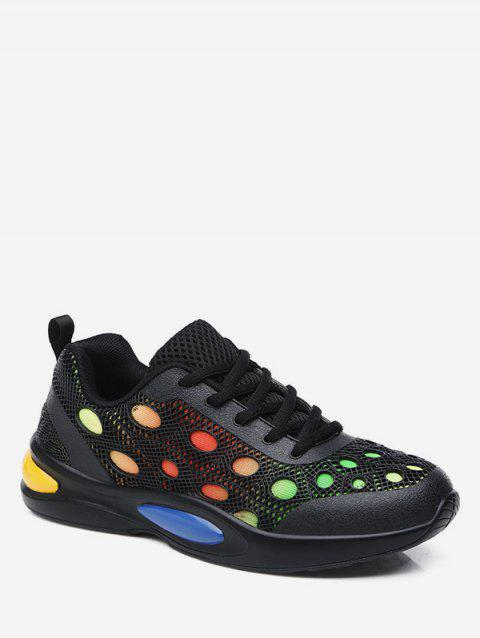 Round Dot Breathable Running Sneakers - JET BLACK EU 36