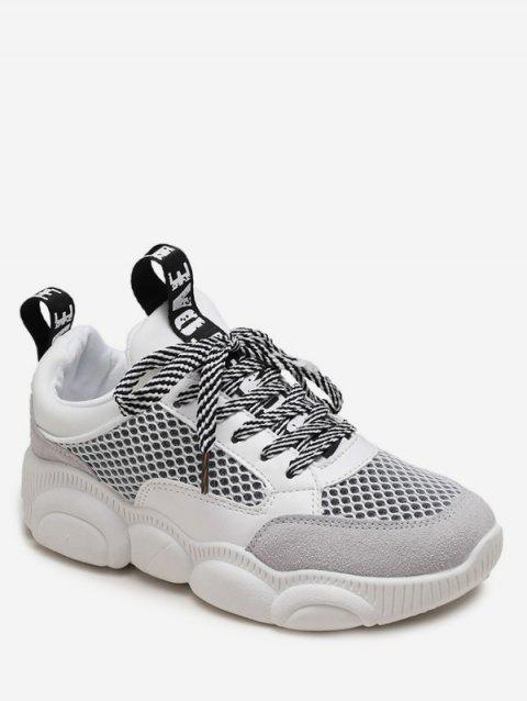 Striped Lace Breathable Mesh Sneakers - WHITE EU 40