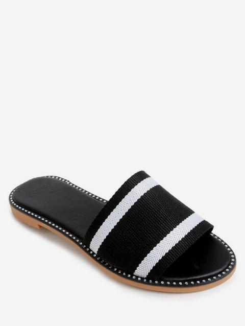 Two Tone Striped Slippers - BLACK EU 38