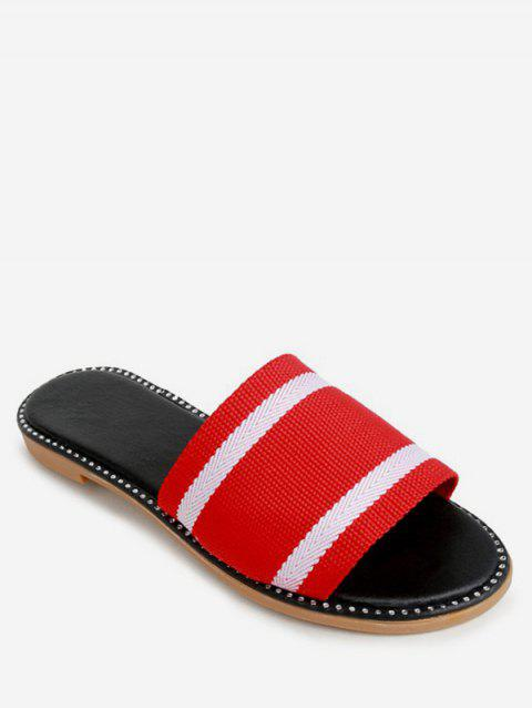 Two Tone Striped Slippers - RED EU 40