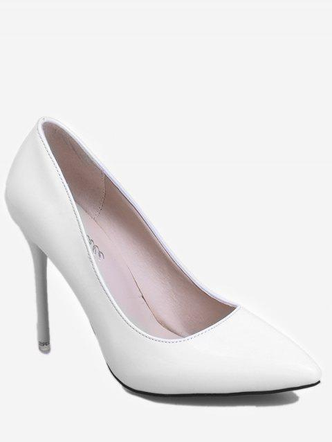 Patent Leather Pointed Toe Heeled Pumps - WHITE EU 38