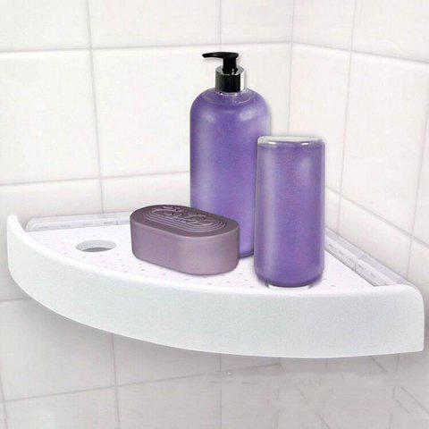 Punch-free Suction Seamless Triangle Storage Shelf - WHITE