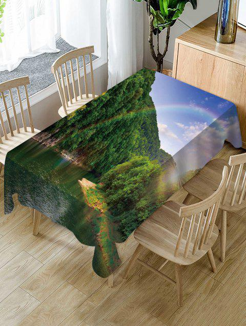 Mountains Rainbow Print Fabric Waterproof Tablecloth - multicolor W60 X L84 INCH