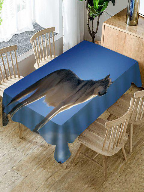 Wolf Print Fabric Waterproof Tablecloth - multicolor W60 X L84 INCH