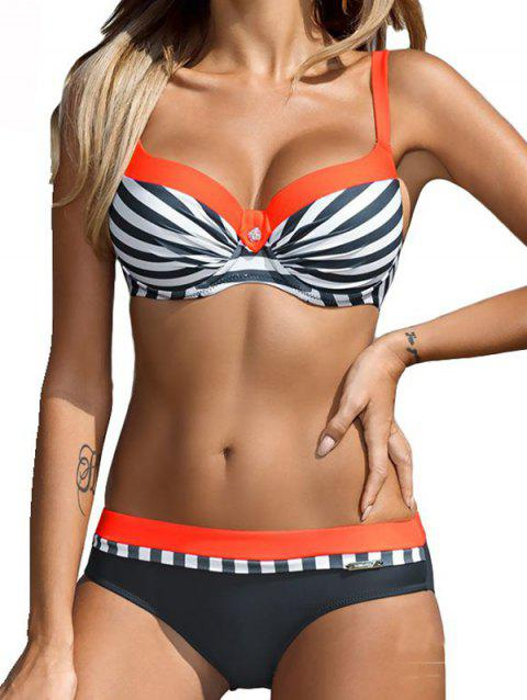 Female Fashion Stripe Steel Plate Gathered Swimsuit - multicolor C L