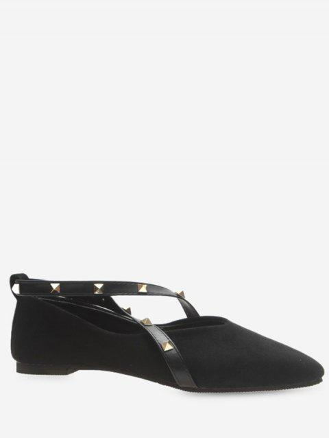 Pointed Toe Studded Strap Wrap Flats - BLACK EU 39