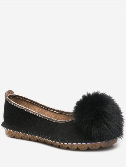 Fuzzy Ball Slip On Flats - BLACK EU 38