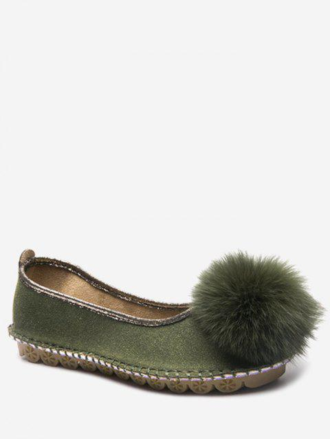 Fuzzy Ball Slip On Flats - ARMY GREEN EU 38