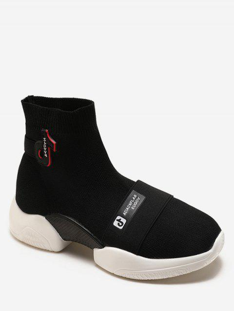 Slip On Letter Applique Sneaker Boots - BLACK EU 36