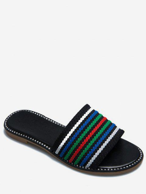 Multicolor Striped Slippers - GREEN EU 39