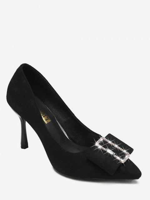 Rhinestone Buckle Pointed Toe Suede Pumps - BLACK EU 38
