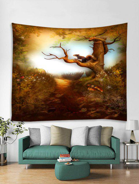 Forest Squirrel Printed Tapestry Art Decoration - multicolor A W79 X L71 INCH