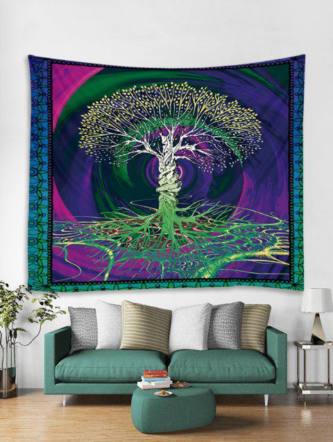 Tree Life Printed Tapestry Art Decoration - multicolor W59 X L59 INCH