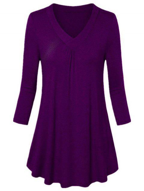 V-neck Long-sleeved Shirt Loose Pleated T-shirt - PURPLE 3XL