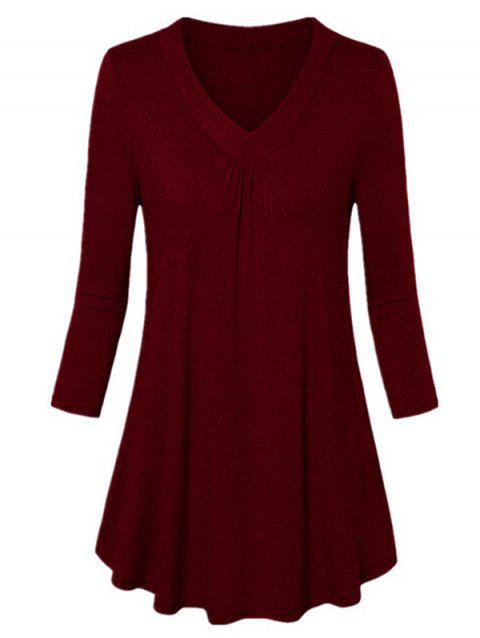 V-neck Long-sleeved Shirt Loose Pleated T-shirt - RED WINE 6XL