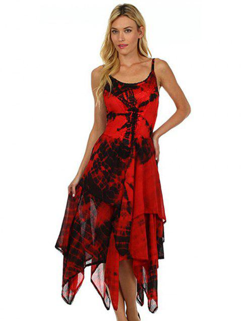 Printed Laced Irregular Strap Dress - RED L