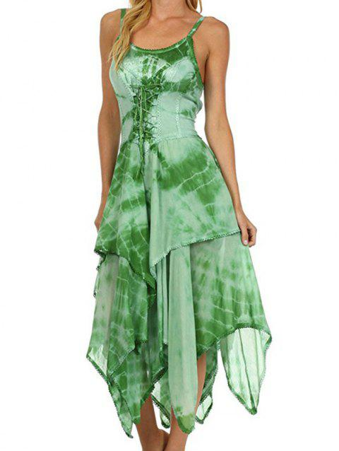 Printed Laced Irregular Strap Dress - GREEN 3XL