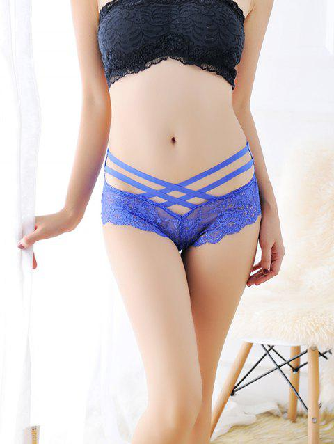 8033 Feminine Low-rise Sexy Lace Briefs - BLUE ONE SIZE