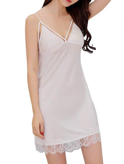 GH - YX908 Women's Strap Deep V Design Nightdress - WHITE M
