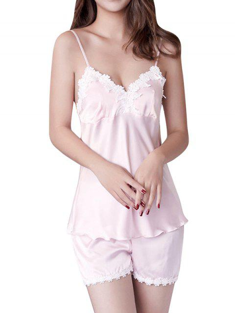 GH - YX909 Women's Colorblock Lace Sling Pajama Set - PINK XL