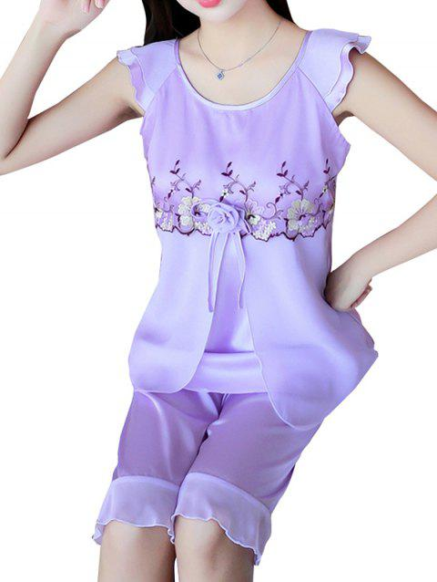 GH - YX824 Women's Fashion Comfortable Pajama Set - PURPLE XL