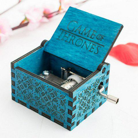Vintage Delicate Wooden Hand Music Box - BLUE 1#